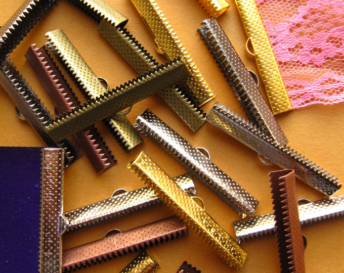 40mm (1 9/16 inch) Ribbon Clamps With Loop, Dots Series -- 20 pieces in Mixed Finishes