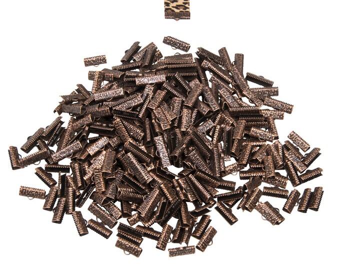 500 pieces  20mm  (3/4 inch)  Antique Copper Ribbon Clamp End Crimps - Artisan Series