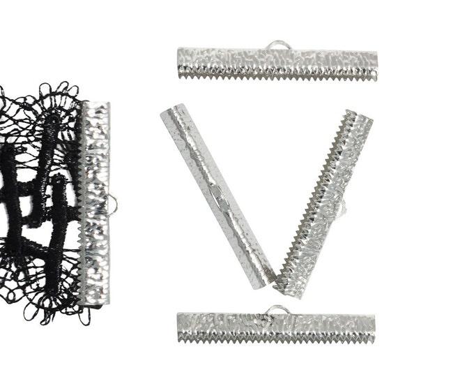 16 pieces  40mm ( 1 9/16 inch ) Platinum Silver Ribbon Clamp End Crimps - Artisan Series