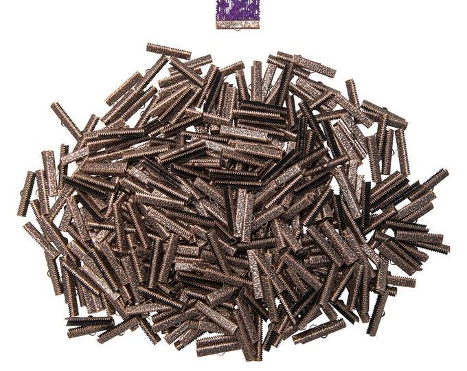 500 pieces  30mm ( 1 3/16 inch ) Antique Copper Ribbon Clamp End Crimps - Artisan Series