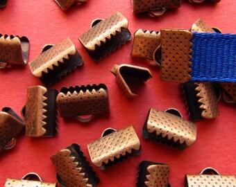 20pcs. 10mm or 3/8 inch Antique Copper Ribbon Clamp End Crimps