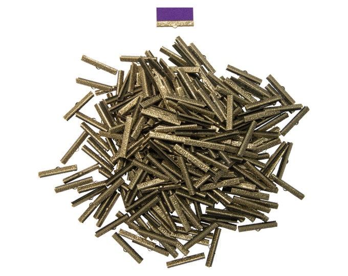 500 pieces  38mm ( 1 1/2 inch )  Antique Bronze Ribbon Clamp End Crimps - Artisan Series