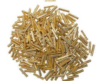 500 pieces  30mm ( 1 3/16 inch ) Gold Ribbon Clamp End Crimps - Artisan Series