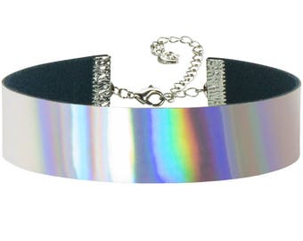 Adjustable Rainbow Hologram Holographic Choker 3/4 inch (20mm)