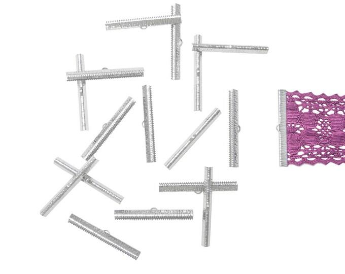50mm  (2 inch)  Platinum Silver Ribbon Clamps End Crimps - Artisan Series - 150 pieces