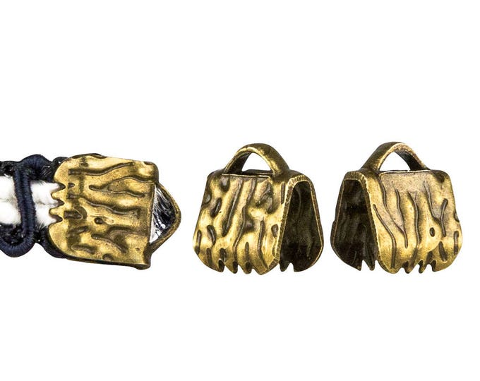 50 pieces  6mm  (1/4 inch)  Antique Bronze Ribbon Clamp End Crimps - Artisan Series
