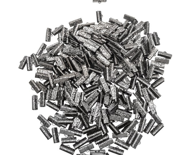 500 pieces  16mm (5/8 inch)  Gunmetal Ribbon Clamp End Crimps - With or Without Loop - Artisan Series