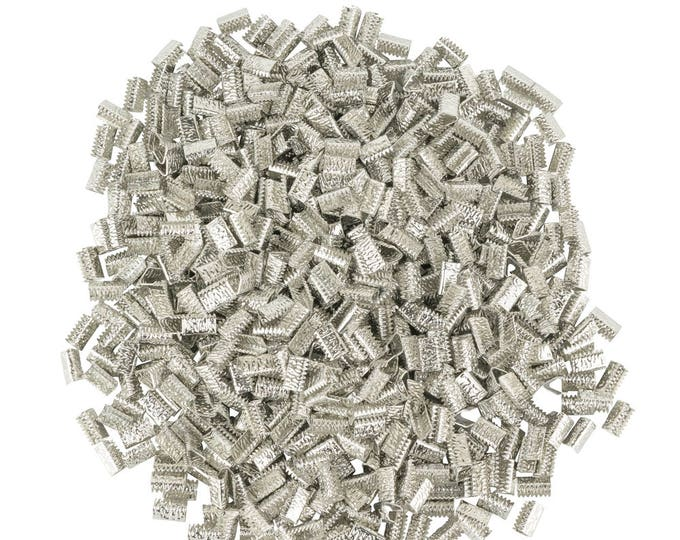 10mm or 3/8 inch Platinum Silver Ribbon Clamps End Crimps - with or without loop - Artisan Series  - 500 pieces