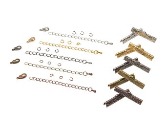 30mm (1 3/16 inch) Ribbon Choker Findings Kit - Bronze, Gold, Platinum Silver, Gunmetal, Antique Copper, Mixed - Artisan & Dots Series