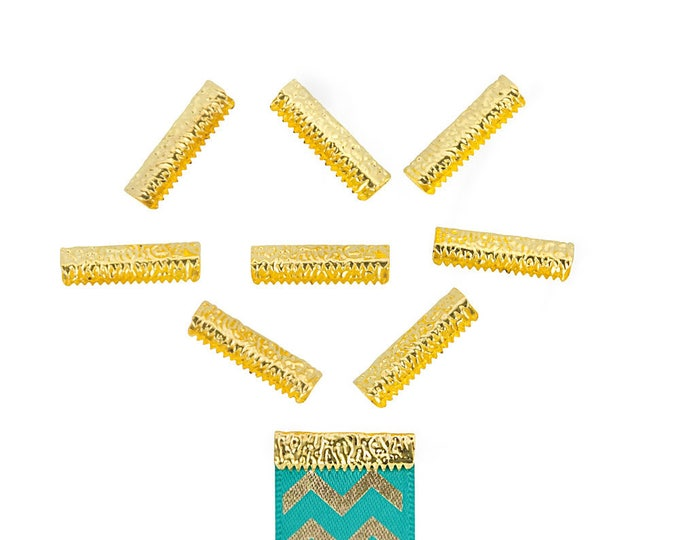 50 pieces 22mm or 7/8 inch Gold No Loop Ribbon Clamp End Crimps - Artisan Series