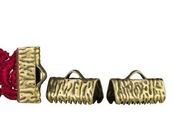 50 pieces  13mm  (1/2 inch)  Antique Bronze Ribbon Clamp End Crimps - Artisan Series