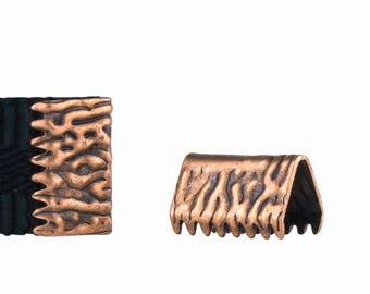 10mm or 3/8 inch Antique Copper Ribbon Clamp End Crimps - no loop - Artisan Series (16 pieces)