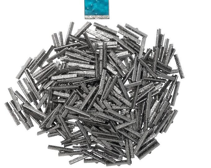 500 pieces  38mm  ( 1 1/2 inch ) Gunmetal Ribbon Clamp End Crimps - Artisan Series