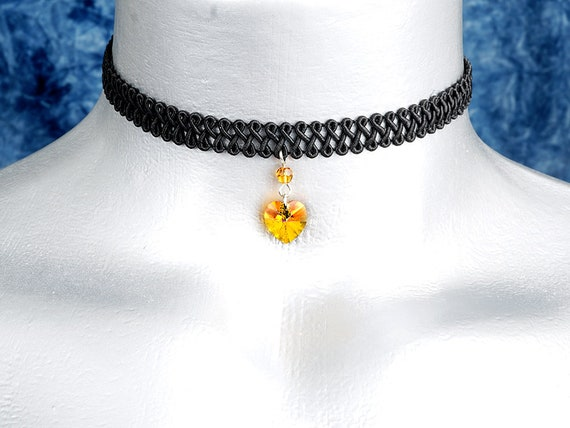 Dark Orange Topaz Swarovski Crystal Heart Pendant Choker Necklace