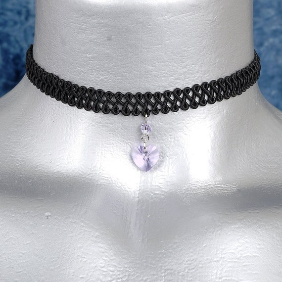 Lavender Light Violet Swarovski Crystal Heart Pendant Choker Necklace