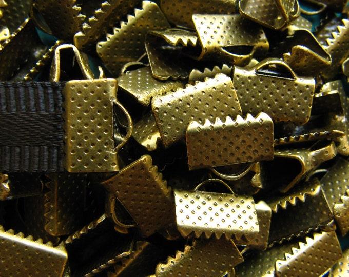 144 pieces 10mm or 3/8 inch Antique Bronze Ribbon Clamp End Crimps