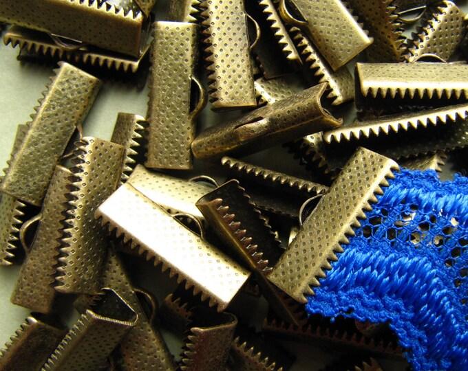 144 pieces 20mm or 3/4 inch Antique Bronze Ribbon Clamp End Crimps