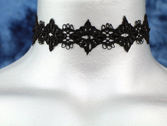 Black Diamond Filigree Venice Lace Choker Necklace