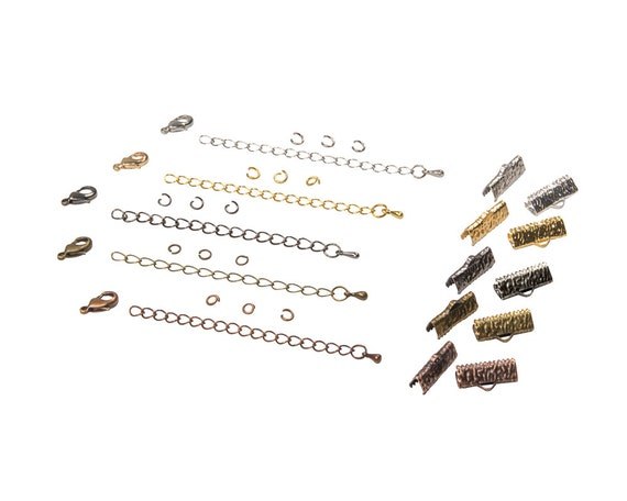 16mm (5/8 inch) Ribbon Choker Findings Kit in Antique Bronze, Gold, Platinum Silver, Gunmetal, Antique Copper, Mixed - Artisan & Dots Series