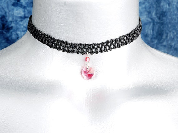 Light Pink Rose Swarovski Crystal Heart Pendant Choker Necklace