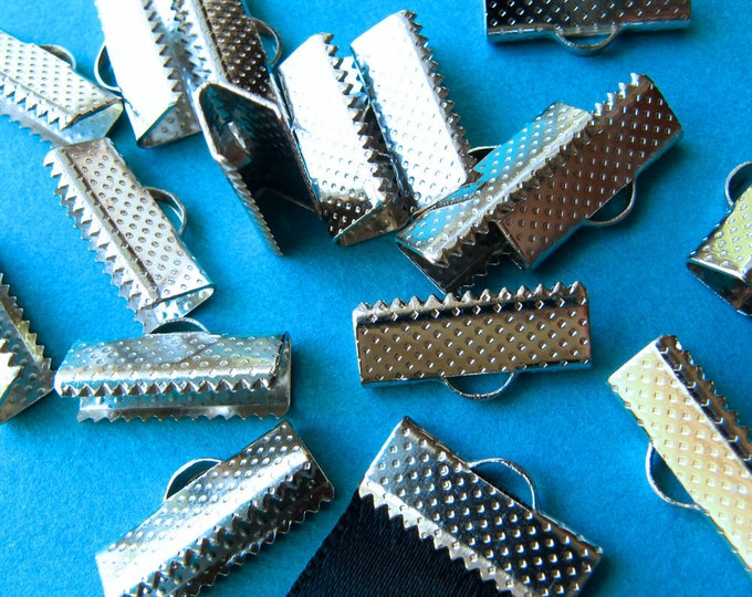 16 pieces 16mm or 5/8 inch Silver Ribbon Clamp End Crimps