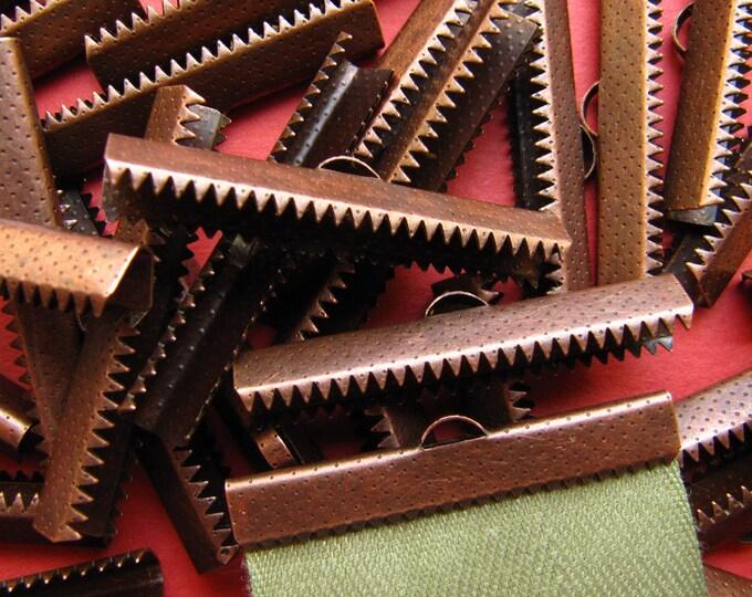 144 pieces 38mm or 1 1/2 inch Antique Copper Ribbon Clamp End Crimps