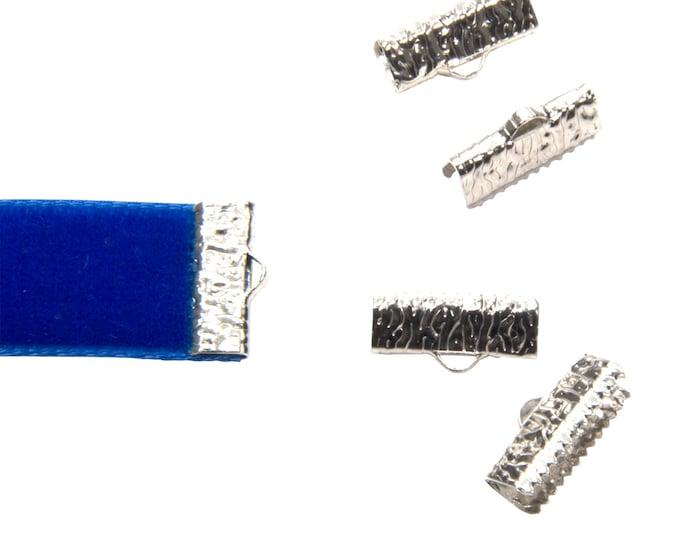 16 pieces  16mm  (5/8 inch)  Platinum Silver Ribbon Clamp End Crimps - Artisan Series