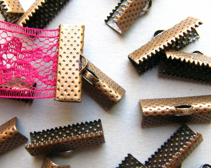 16 pieces 20mm or 3/4 inch Antique Copper Ribbon Clamp End Crimps