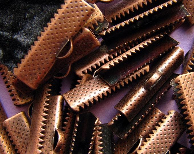 144 pieces 22mm or 7/8 inch Antique Copper Ribbon Clamp End Crimps