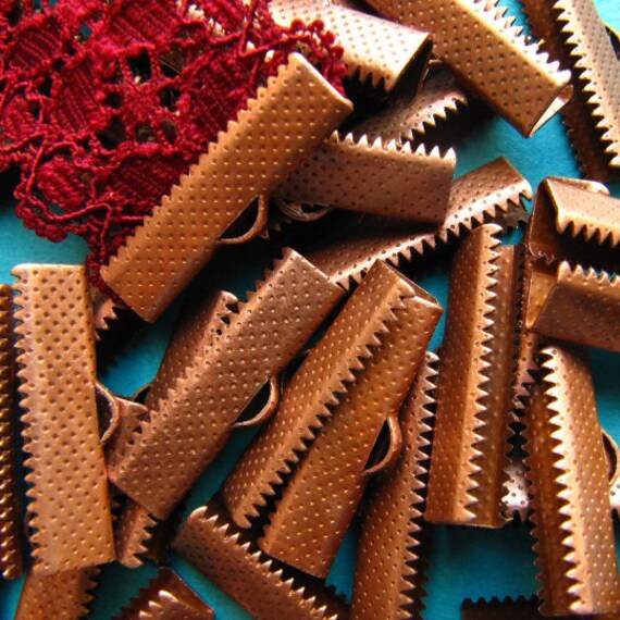 144 pieces 25mm (1 inch) Ribbon Clamps With Loop, Dots Series -- Antique Copper, Gold