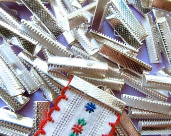 144 pieces 25mm or 1 inch Silver Ribbon Clamp End Crimps