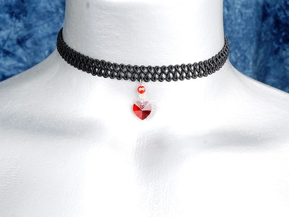 Red Swarovski Crystal Heart Pendant Choker Necklace