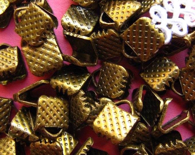 144 pieces 6mm or 1/4 inch Antique Bronze Ribbon Clamp End Crimps