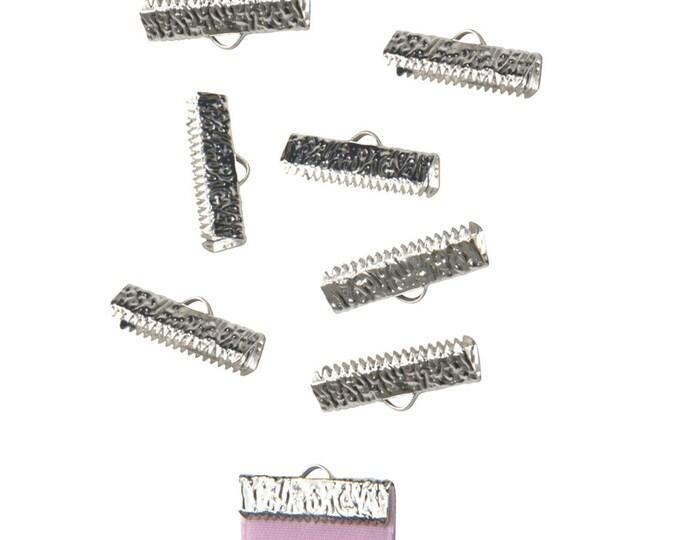 50 pieces  22mm  (7/8 inch)  Platinum Silver Ribbon Clamp End Crimps - Artisan Series
