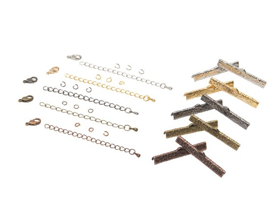 40mm (1 9/16 inch) Ribbon Choker Findings Kit in Antique Bronze, Gold, Platinum Silver, Gunmetal, Copper, Mixed - Artisan & Dots Series