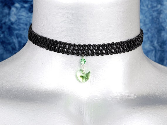 Light Green Peridot Swarovski Crystal Heart Pendant Choker Necklace