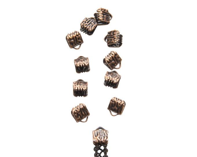 50 pieces  6mm  (1/4 inch)  Antique Copper Ribbon Clamp End Crimps - Artisan Series