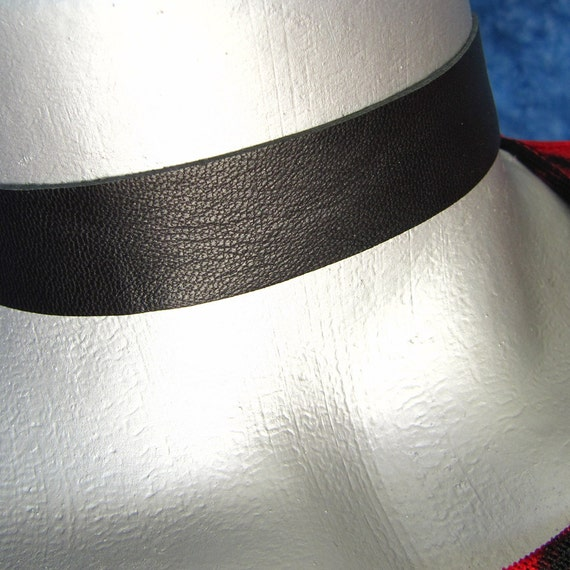 Black Leather Choker Necklace (20mm)