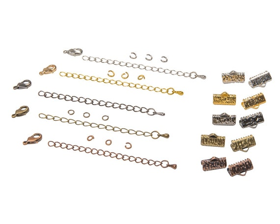 13mm (1/2 inch) Ribbon Choker Findings Kit - Antique Bronze, Gold, Platinum Silver, Gunmetal, Antique Copper, Mixed - Artisan & Dots Series