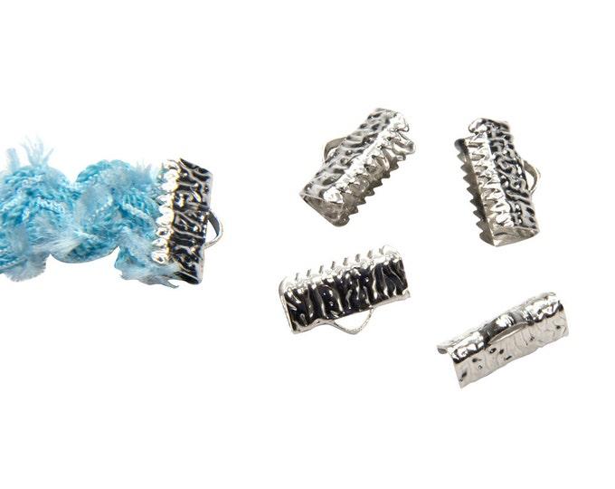 16 pieces  13mm  (1/2 inch)  Platinum Silver Ribbon Clamp End Crimps- Artisan Series