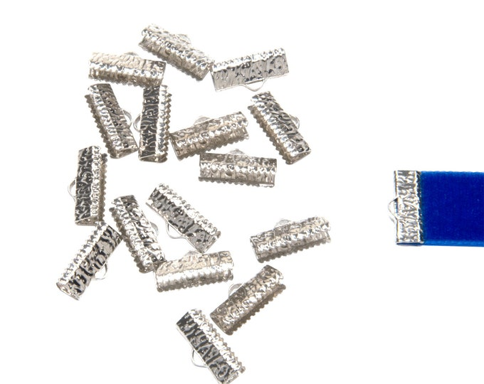 50 pieces  16mm  (5/8 inch)  Platinum Silver Ribbon Clamp End Crimps - Artisan Series