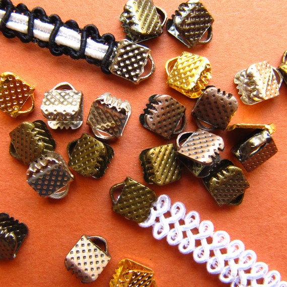 500 pieces 6mm (1/4 inch) Ribbon Clamps Dots Series -- Gold, Gunmetal, Antique Bronze, Antique Copper