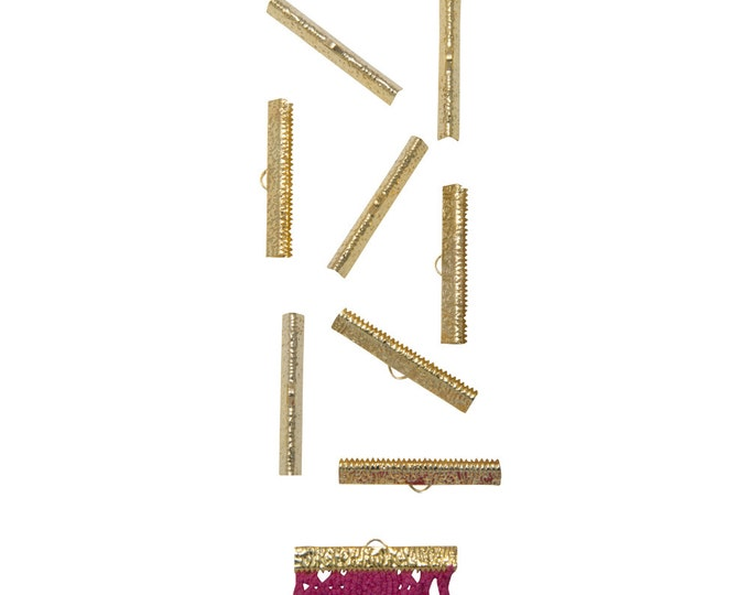 50 pieces  38mm  ( 1 1/2 inch ) Gold Ribbon Clamp End Crimps - Artisan Series