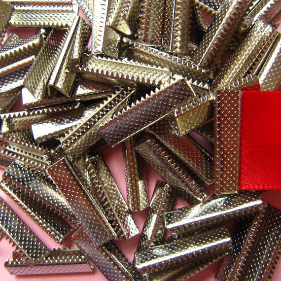 144 pieces 22mm (7/8 inch) No Loop Ribbon Clamps Dots Series -- Platinum Silver, Gold, Gunmetal, Antique Bronze, Antique Copper
