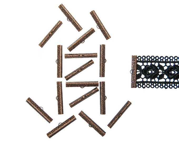 150 pieces  38mm ( 1 1/2 inch ) Antique Copper Ribbon Clamp End Crimps - Artisan Series