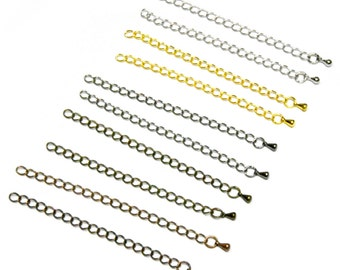 144 Closed Link Extension Chains -- 3 inches long -- Antique Bronze, Silver, Gunmetal, Gold, Antique Copper