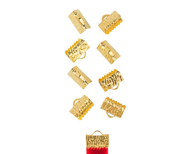 50 pieces  10mm  (3/8 inch) Gold Ribbon Clamp End Crimps - with or without loop - Artisan Series