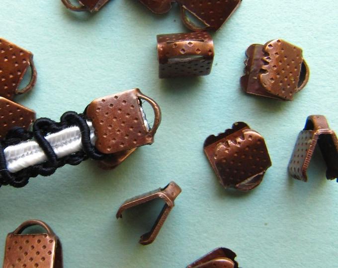 20pcs. 6mm or 1/4 inch Antique Copper Ribbon Clamp End Crimps