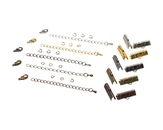 20mm (3/4 inch) Ribbon Choker Findings Kit in Antique Bronze, Gold, Platinum Silver, Gunmetal, Antique Copper, Mixed - Artisan & Dots Series