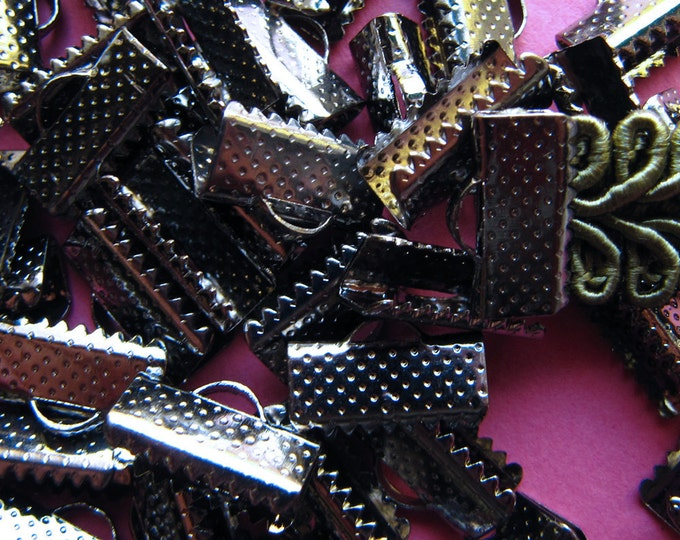 144 pieces 13mm or 1/2 inch Gunmetal Ribbon Clamp End Crimps